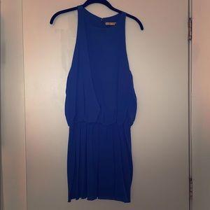 Alice + Olivia cobalt blue silk mini dress